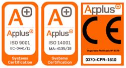 Logos icono ISO applus para Brausa, fabricante de perfiles de acero conformados en frío