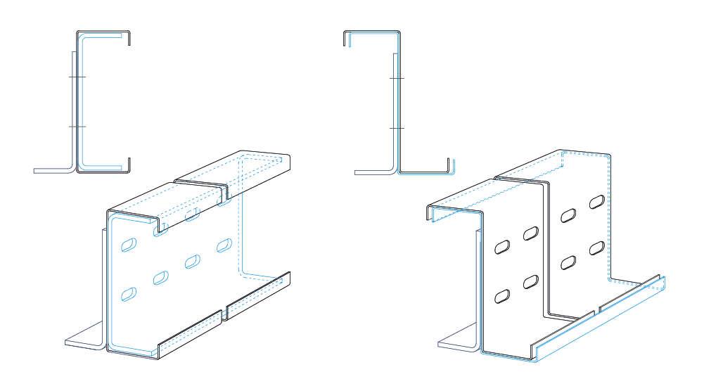 dibujo de perfiles cubrejuntas para perfiles de acero conformados en frío. Brausa.